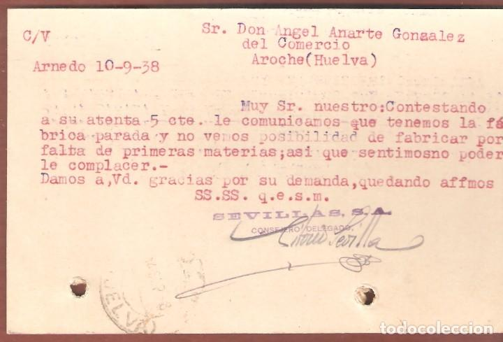 Sellos: Guerra Civil: Tarjeta Postal Comercial Arnedo (Logroño) - Aroche (Huelva) - Foto 2 - 165819366