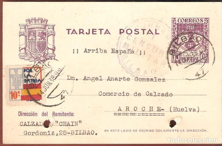 GUERRA CIVIL: TARJETA POSTAL COMERCIAL DE BILBAO A AROCHE (HUELVA). (Sellos - España - Guerra Civil - De 1.936 a 1.939 - Cartas)