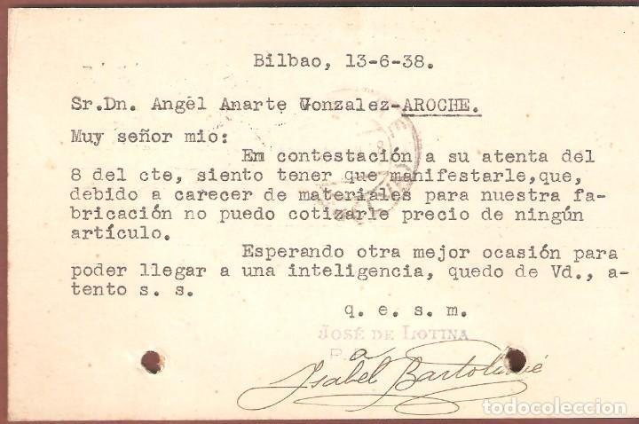 Sellos: Guerra Civil: Tarjeta Postal comercial de Bilbao a Aroche (Huelva). - Foto 2 - 165822398