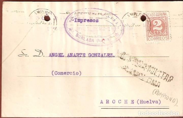 GUERRA CIVIL: TARJETA POSTAL COMERCIAL DE BURLADA (NAVARRA) A AROCHE (HUELVA). (Sellos - España - Guerra Civil - De 1.936 a 1.939 - Cartas)