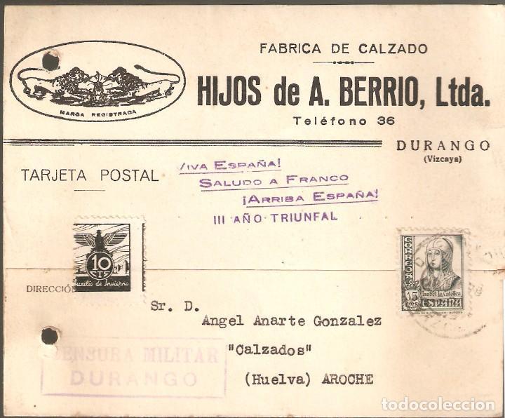 GUERRA CIVIL: TARJETA POSTAL COMERCIAL DE DURANGO (VIZCAYA) A AROCHE (HUELVA). (Sellos - España - Guerra Civil - De 1.936 a 1.939 - Cartas)