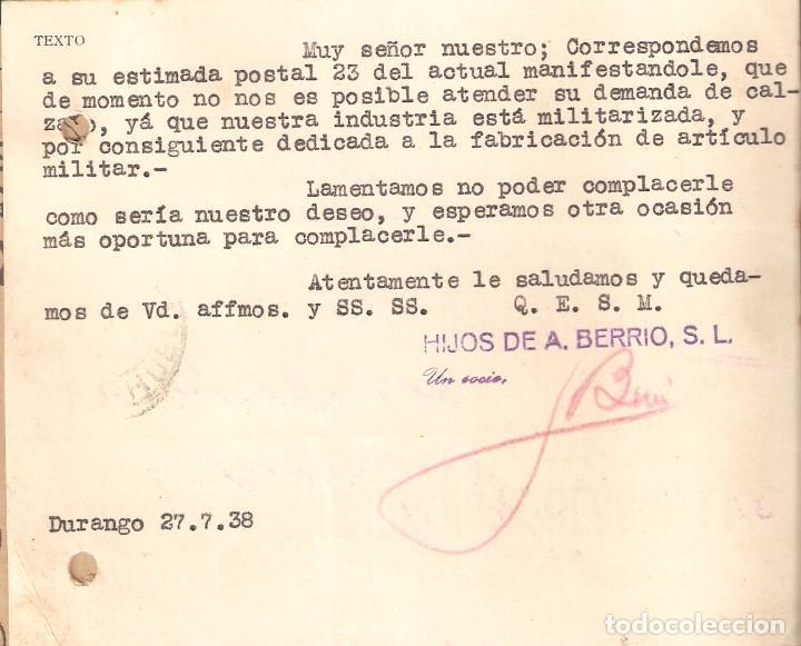 Sellos: Guerra Civil: Tarjeta Postal comercial de Durango (Vizcaya) a Aroche (Huelva). - Foto 2 - 165824738