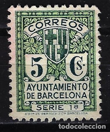 1932 BARCELONA EDIFIL 19 MH* CON CHARNELA SIN GOMA - AYUNTAMIENTO ESCUDO (Sellos - España - Guerra Civil - Locales - Nuevos)