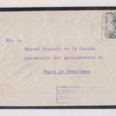 Sellos: SOBRE CON CARTA. ARENAS DE CABRALES, ASTURIAS. 1941. CENSURA Y FECHADOR DE CANGAS DE ONÍS. Lote 166205698