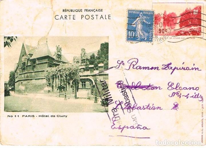 AÑO 1937, POSTAL ENVIADA DESDE FRANCIA A SAN SEBASTIAN CON CENSURA MILITAR SAN SEBASTIAN, 2-1-1937 (Sellos - España - Guerra Civil - De 1.936 a 1.939 - Cartas)