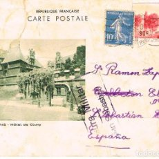 Sellos: AÑO 1937, POSTAL ENVIADA DESDE FRANCIA A SAN SEBASTIAN CON CENSURA MILITAR SAN SEBASTIAN, 2-1-1937. Lote 166271782