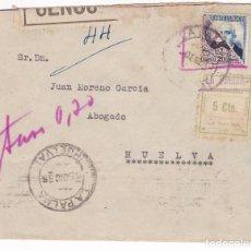 Sellos: F5-3 CARTA LA PALMA (HUELVA). LOCAL, FAJA CENSURA Y FRANQUEO BISECTADOS.NO ADMITIDO. TASADA 1936. Lote 166561562