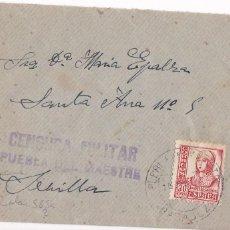 Sellos: F5-3 CARTA PUEBLA DEL MAESTRE (BADAJOZ) 1938. LOCAL Y CENSURA VIOLETA. Lote 166561902
