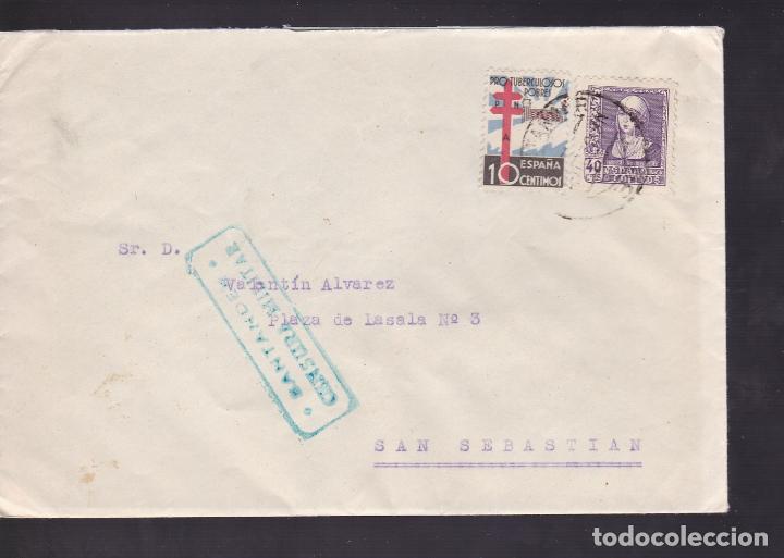 F5-3 -CARTA SANTANDER 1938. TUBERCULOSOS Y CENSURA (Sellos - España - Guerra Civil - De 1.936 a 1.939 - Cartas)