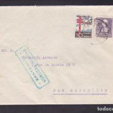 Sellos: F5-3 -CARTA SANTANDER 1938. TUBERCULOSOS Y CENSURA . Lote 166562746