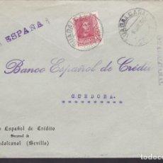 Sellos: F5-4 -CARTA GUADALCANAL (SEVILLA) 1938. LOCAL Y CENSURA . Lote 166563854