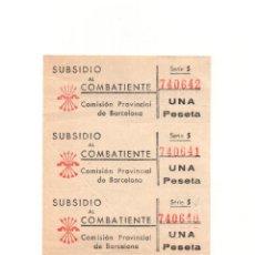 Sellos: 3 VIÑETAS. SUBSIDIO AL COMBATIENTE BARCELONA 1 PESETA COMISIÓN PROVINCIAL FALANGE.. Lote 166565966