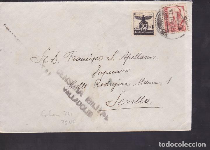 F5-5 -CARTA VALLADOLID 1937. AUXILIO INVIERNO. CENSURA . MARCA AVIACIÓN REMITE (Sellos - España - Guerra Civil - De 1.936 a 1.939 - Cartas)