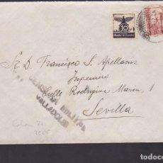 Sellos: F5-5 -CARTA VALLADOLID 1937. AUXILIO INVIERNO. CENSURA . MARCA AVIACIÓN REMITE. Lote 166566250