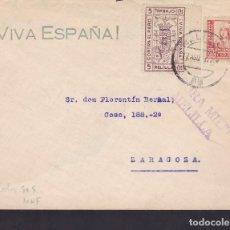 Sellos: F5-9 -CARTA MELILLA- ZARAGOZA 1937. , LOCAL Y CENSURA . Lote 166577074
