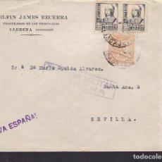 Sellos: F5-10 -CARTA LLERENA (BADAJOZ) 1938. LOCAL Y CENSURA . Lote 166577610