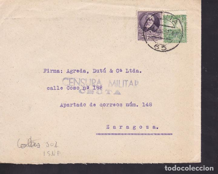 F28-21-GUERRA CIVIL CARTA CEUTA 1937. CENSURA . SELLOS REPUBLICANOS (Sellos - España - Guerra Civil - De 1.936 a 1.939 - Cartas)