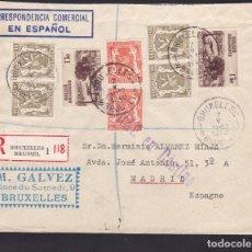 Sellos: F5-13 -CERTIFICADO BRUSELAS - MADRID 1940. CENSURAR EN DESTINO Y FAJA CENSURA . Lote 166578278