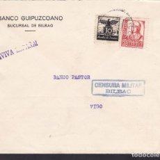 Sellos: F5-14 -CARTA BILBAO- VIGO 1937.AUXILIO DE INVIERNO Y CENSURA . Lote 166578542