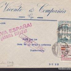 Sellos: F5-14 -CARTA VIGO-BUEU. 1937. LOCAL.AUXILIO DE INVIERNO Y CENSURA PONTEVEDRA. Lote 166578638