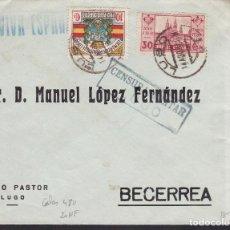 Sellos: F5-16-CARTA LUGO- BECERREA 1937. LOCAL Y CENSURA . Lote 166579130