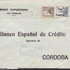 Sellos: F5-19-CARTA SAN SEBASTIÁN - CÓRDOBA 1938. CRUZADA FRÍO Y CENSURA . Lote 166579550