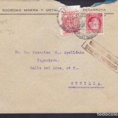 Sellos: F5-19-CARTA PEÑARROYA- PUEBLONUEVO (CÓRDOBA )1937 LOCAL Y CENSURA NEGRO. Lote 166579582