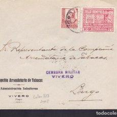 Sellos: F5-21-CARTA COMPAÑÍA TABACOS VIVERO-LUGO 1937. LOCAL Y CENSURA. DORSO LLEGADA. Lote 166579886
