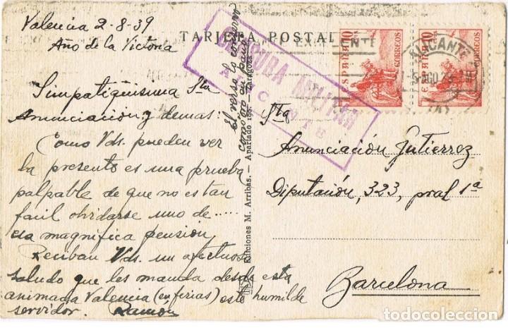 ALICANTE CENSURA MILITAR - POSTAL DE VALENCIA AÑO DE LA VICTORIA - MATASELLO RODILLO CIFRAS CID (Sellos - España - Guerra Civil - De 1.936 a 1.939 - Cartas)