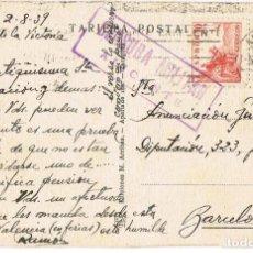 Sellos: ALICANTE CENSURA MILITAR - POSTAL DE VALENCIA AÑO DE LA VICTORIA - MATASELLO RODILLO CIFRAS CID. Lote 167526032