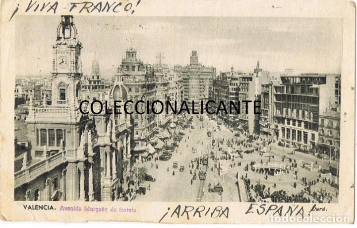 Sellos: ALICANTE CENSURA MILITAR - POSTAL DE VALENCIA AÑO DE LA VICTORIA - MATASELLO RODILLO CIFRAS CID - Foto 2 - 167526032