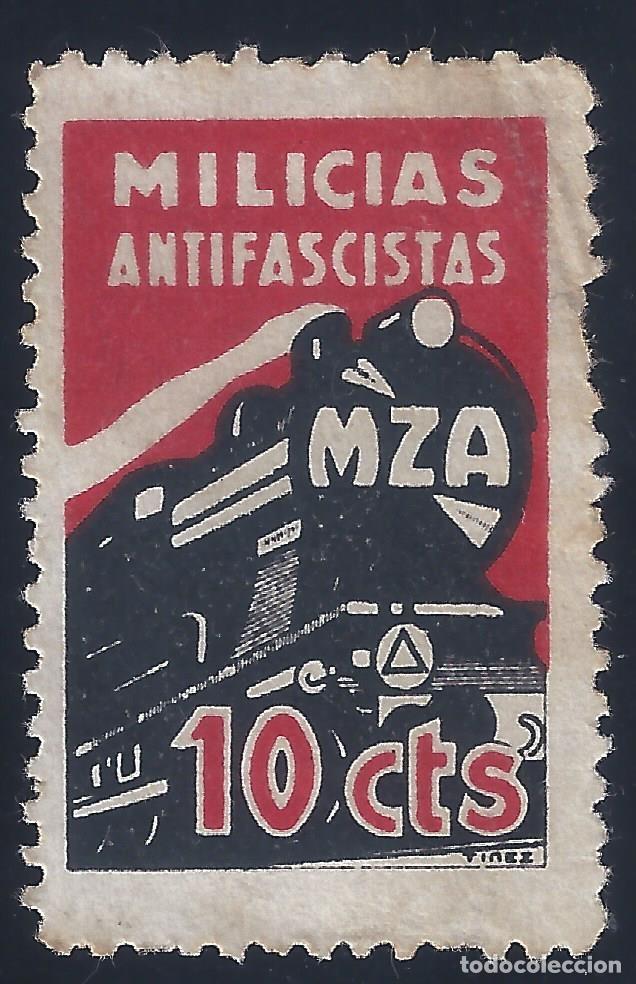 MILICIAS ANTIFASCISTAS. TREN MZA (MADRID-ZARAGOZA-ALICANTE). ESCASO. LUJO. MNH ** (Sellos - España - Guerra Civil - Viñetas - Nuevos)