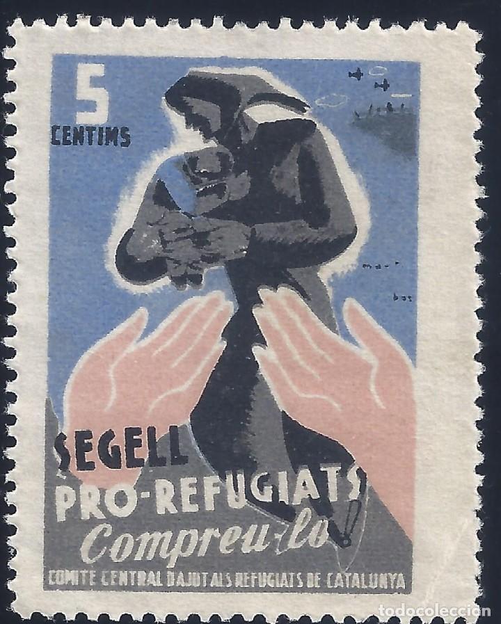 SEGELL PRO-REFUGIATS. COMITÉ CENTRAL D'AYUDA ALS REFUGIATS DE CATALUNYA. MH * (Sellos - España - Guerra Civil - Viñetas - Nuevos)