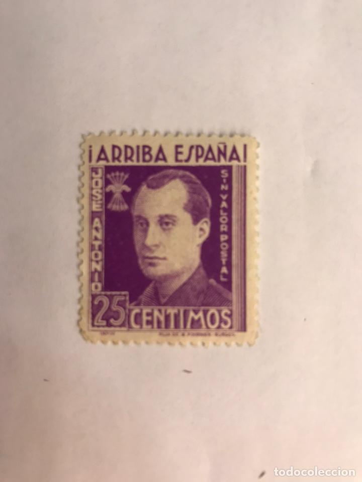 FILATELIA, ARRIBA ESPAÑA. JOSÉ ANTONIO PRIMO DE RIVERA. 25 CENTIMOS , SIN VALOR POSTAL... (Sellos - España - Guerra Civil - De 1.936 a 1.939 - Nuevos)
