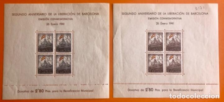 POST GUERRA CIVIL- BARCELONA- 2º ANIVERSARIO LIBERACION- AYUNTAMIENTO 1.941 - 2 BLOQUES (Sellos - España - Guerra Civil - Viñetas - Nuevos)