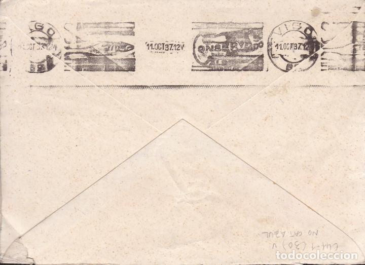 Sellos: CM2-6- Guerra Civil. Carta CANGAS de MORRAZO (Pontevedra) 1937. Local y Censura AZUL - Foto 2 - 168194836