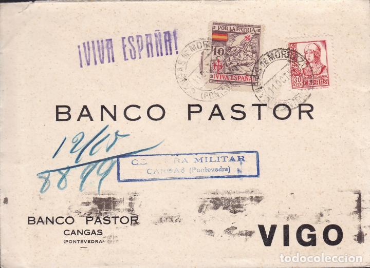 CM2-6- GUERRA CIVIL. CARTA CANGAS DE MORRAZO (PONTEVEDRA) 1937. LOCAL Y CENSURA AZUL (Sellos - España - Guerra Civil - De 1.936 a 1.939 - Cartas)