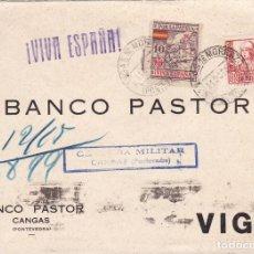 Sellos: CM2-6- GUERRA CIVIL. CARTA CANGAS DE MORRAZO (PONTEVEDRA) 1937. LOCAL Y CENSURA AZUL. Lote 168194836