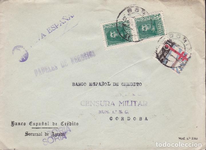 CM2-18- GUERRA CIVIL. CARTA SORIA 1939. TUBERCULOSOS Y CENSURA (Sellos - España - Guerra Civil - De 1.936 a 1.939 - Cartas)
