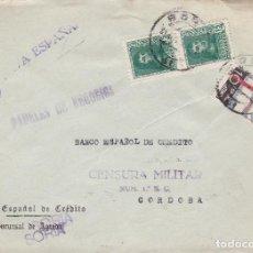 Sellos: CM2-18- GUERRA CIVIL. CARTA SORIA 1939. TUBERCULOSOS Y CENSURA . Lote 168204776