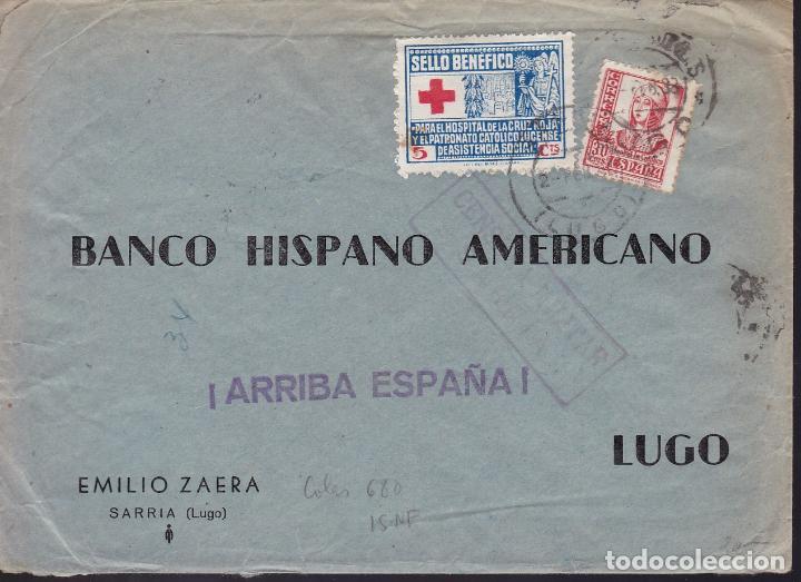 CM2-18- GUERRA CIVIL. CARTA SARRIA (LUGO) 1939. LOCAL Y CENSURA (Sellos - España - Guerra Civil - De 1.936 a 1.939 - Cartas)