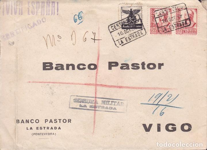 HP9-23- GUERRA CIVIL. CERTIFº LA ESTRADA (PONTEVEDRA) 1937. CENSURA Y AUXILIO INVIERNO.BONITO LACRE (Sellos - España - Guerra Civil - De 1.936 a 1.939 - Cartas)