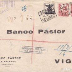 Francobolli: HP9-23- GUERRA CIVIL. CERTIFº LA ESTRADA (PONTEVEDRA) 1937. CENSURA Y AUXILIO INVIERNO.BONITO LACRE. Lote 168207208