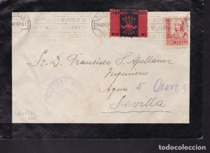 HP9-23- GUERRA CIVIL. CARTA LUTO BURGOS 1937. CENSURA, VIÑETA FALANGE Y RODILLO TURÍSTICO BURGOS (Sellos - España - Guerra Civil - De 1.936 a 1.939 - Cartas)