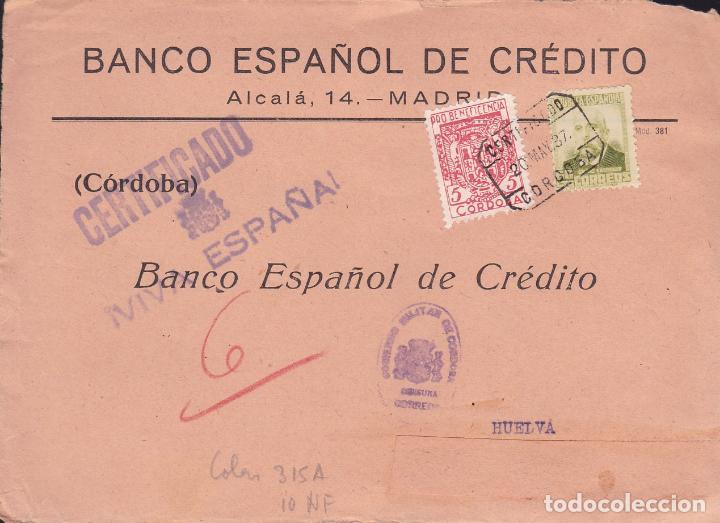 CM2-34- GUERRA CIVIL. FRONTAL CERTIFICADO CORDOBA 1937. LOCAL Y CENSURA (Sellos - España - Guerra Civil - De 1.936 a 1.939 - Cartas)