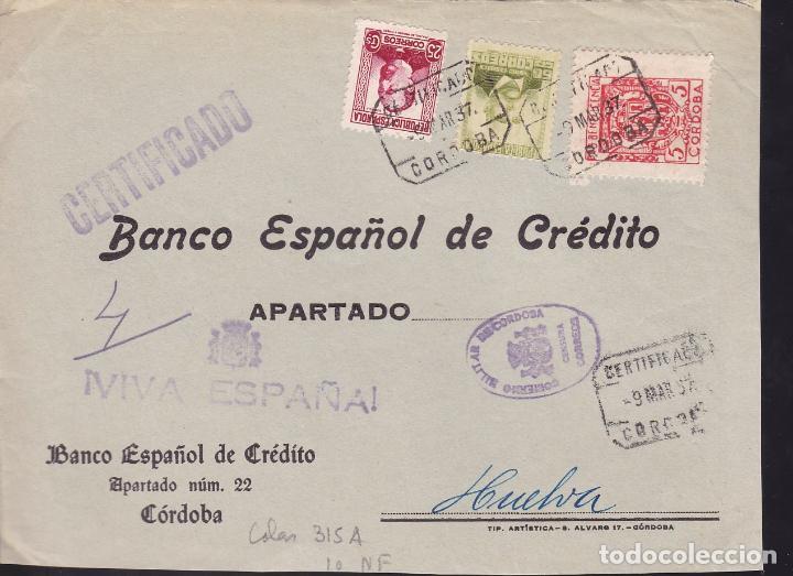 CM2-38- GUERRA CIVIL. FRONTAL CERTIFICADO CORDOBA 1937. LOCAL Y CENSURA (Sellos - España - Guerra Civil - De 1.936 a 1.939 - Cartas)
