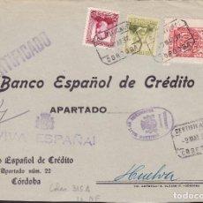 Sellos: CM2-38- GUERRA CIVIL. FRONTAL CERTIFICADO CORDOBA 1937. LOCAL Y CENSURA . Lote 168208220
