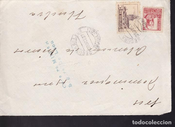 CM2-40- GUERRA CIVIL. FRONTAL SEGURA DE LEON 1937. LOCAL Y CENSURA (Sellos - España - Guerra Civil - De 1.936 a 1.939 - Cartas)