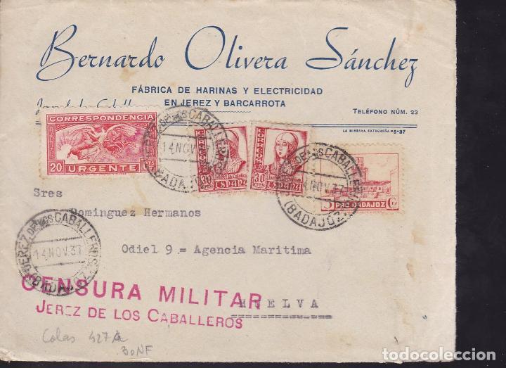 CM2-40- GUERRA CIVIL. FRONTAL URGENTE JEREZ DE LOS CABALLEROS (BADAJOZ) 1937. LOCAL Y CENSURA (Sellos - España - Guerra Civil - De 1.936 a 1.939 - Cartas)