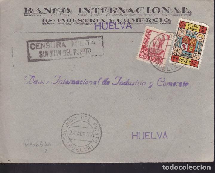 CM2-44- GUERRA CIVIL. FRONTAL SAN JUAN DEL PUERTO (HUELVA) 1937. LOCAL Y CENSURA NO CATALOGADA (Sellos - España - Guerra Civil - De 1.936 a 1.939 - Cartas)
